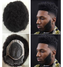 hair toupee wig UK - Men Hair System Wig Mens Hairpieces Afro Curl Front Lace with Mono NPU Toupee Jet Black Malaysian Virgin Human Hair Replacement for Men