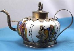 Metal chinese teapot online shopping - design silver monkey Chinese Tibet brass white Porcelain Dragon TeaPot tools wedding Decoration Brass