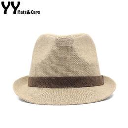 3a8927aad1200 Summer Linen Beach Boater Sun Hat Men Sun Visor Cap Women Gangster Trilby  Fedora Cap Gentleman Dad Travel Panama Felt Hat YY1837