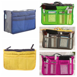 Cheap Lady Handbag Wholesale Australia - Organizer Insert Bag Women Nylon Travel Insert Organizer Handbag Purse Large liner Lady Makeup Cosmetic Bag Cheap Female Tote
