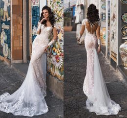 Lace iLLusion back mermaid wedding dress online shopping - Gorgeous Champagne Sweetheart Country Wedding Dresses Sheer Long Sleeve Illusion Back Mermaid Lace Appliques Tulle Bridal Gowns