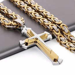 $enCountryForm.capitalKeyWord Australia - Stainless Steel Pendant Necklace 3 Layers Knight Cross Gold Silver Tone Strong Byzantine Chain Mens Fashion Jewelry Fathers Gift MX190730