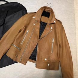 Imported jackets online shopping - Arlenesain spring and summer new imported sheep skin handsome elegant motorcycle leather jacket