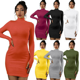 Discount wholesale black turtleneck dress Designer Pink Women Autumn Winter Long Sleeve Turtleneck Sexy Bodycon Midi Dresses Casual Sheath Long Party Club Dresses