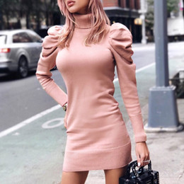 Wholesale sexy pink sweaters resale online - DEAT Spring Elegant Turtleneck Bodycon Knitted Dress Women Puff Sleeve Pink Sweater Dress Sexy Ladies Short Dresses MH547