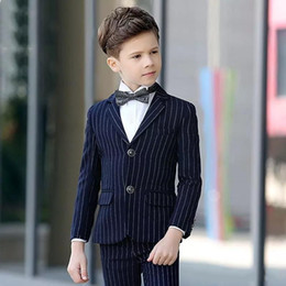 Handsome Kids Suits Australia - Handsome Blue Strips Boy's Formal Occasion Tuxedos Kids Wedding Tuxedos Popular Child Party Holiday Blazer Suit (Jacket+Pants+Tie) 122