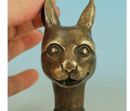 $enCountryForm.capitalKeyWord Australia - 100% brass Pure Copper Brass Grandpa Good Lucky Chinese Old Handmade Carved Rabbit Collect Statue Walking Stick Head