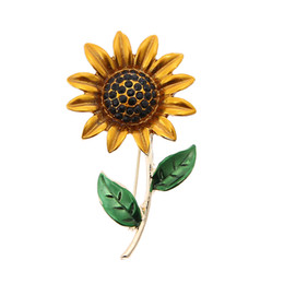 yellow flower brooches Canada - Classic Sunflower Brooches Yellow Enamel Flower Pins Women Coat jewelry accessories Sun Flower Brooches Collar Pins Gifts