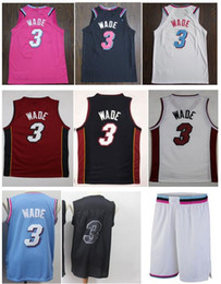 Best Uniforms Australia - Best Quality New style Cheap Dwyane 3# Wade Jersey Embroidery Wade Shirts White Black Pink Mens Sportswear University uniform S-XXL