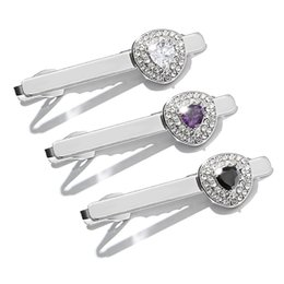 Wholesale Creative Gift for Creative Men with Diamond Inserted Steel Tie Clip and Zircon Collar Tie Clasps Tacks g White Black Purple Color