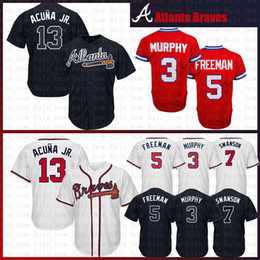 f7363aafc cheap Atlanta 13 Ronald Acuna Acuña Jr. Braves 10 Chipper Jones Baseball  Jersey 44 Aaron 5 Freddie Freeman 7 Dansby Swanson 3 Dale Murphy
