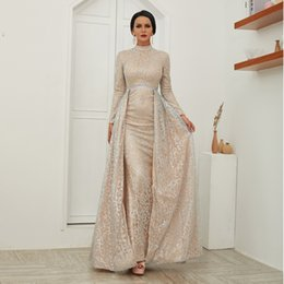 Sparkling Shirt Australia - Sparkling Powder Evening Dress Overskirt Long Sleeve Prom Dress Elegant Detachable Skirt Special Occasion Dresses Real Picture In Stocks
