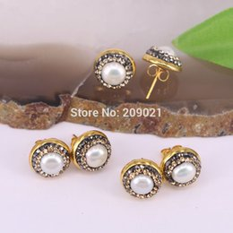shell charm findings Canada - 10pair Gold Color Pave Rhinestone Shell Stud Earrings For Jewelry Finding