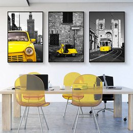 Bus Life Australia - Free shipping Novelty Gift Nordic Street Scenery Yellow Car Bus Motor Print modern home bar decor Wall Art Canvas Painting Hanging Poster