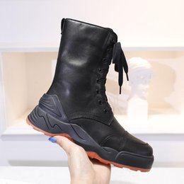 women lace up booties NZ - Calfskin Boot Ankle Martin Boots Classic Winter soft Half Boot Women 2019 new style Lace-Ups Luxury Black Genuine Leather Cowboy Booties
