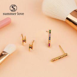 $enCountryForm.capitalKeyWord Australia - 2019 Hot Sale Lightning CZ Stud Earring For Girl Women Colorful Rainbow Bar Dangle Earring Geometric Simple Fashion Jewelry Gift