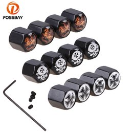 skull cap covers NZ - POSSBAY 4 Pcs Set Car Tire Valve Caps Wheel Tyre Air Valve Caps Metal Motorcycle Bike Skull Type Anti Theft Dustproof Cover