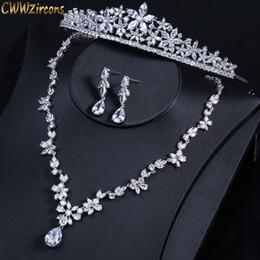 $enCountryForm.capitalKeyWord UK - Cwwzircons Luxury Cubic Zirconia Bridal Wedding Crown Tiara Set High Quality Cubic Zirconia Hair Band Jewelry For Brides T311 T190701