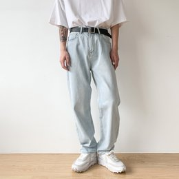 legging korea Australia - Male Japan Korea Streetwear Hip Hop Jeans Long Trousers Men Vintage Washed Loose Casual Wide Leg Straight Denim Pants