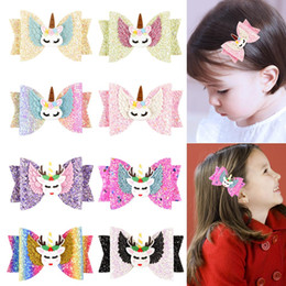 Baby Sequin Hair Clips Wholesale NZ - 8styles Elk Unicorn Clips Sequin Glitter Baby Girls Hair Bow Hairpin Girls Bowknot Barrette Kids Hair Boutique Bows Children gift