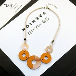 $enCountryForm.capitalKeyWord Australia - YDGY2019 Simple Temperament Wax Rope Chain Mixed Color Resin Wood Collision Ring Accessory Necklace Chain Wholesale