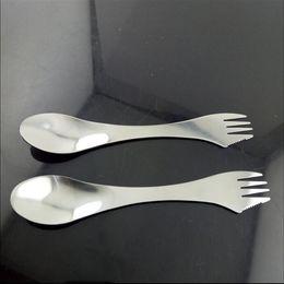 $enCountryForm.capitalKeyWord Australia - Hot Portable 3 in 1 Spoon Knife Fork tableware Stainless Steel cutlery utensil combo Kitchen outdoor picnic scoop knife fork set