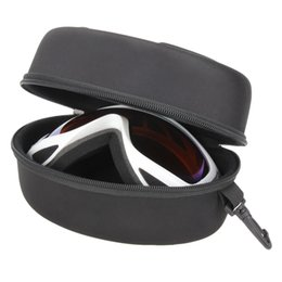 ski goggles case Canada - Portable Ski Goggle Glasses Protector Case(without Goggles) Glasses Box Sunglasses Zipper Storage Bag With Buckle Hook Black