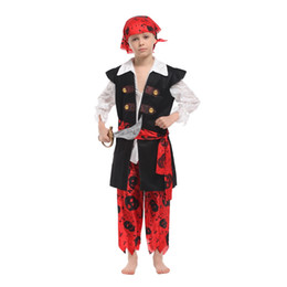 Wholesale pirates halloween costumes online – ideas Kids Child Little Skullduggery Pirate Buccaneer Costumes for Boys Halloween Purim Carnival Masquerade Mardi Gras Party Outfit