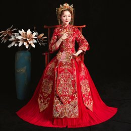 Toast Suits Australia - Oriental Vintage Ladies Cheongsam Suit Red Chinese Bride Wedding Dress Embroidery Ancient Royal Marriage Qipao Toast Clothes