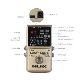 Loops Pedals Australia - NUX LOOP CORE DELUXE 24-bit Guitar Effect Looper Pedal 8h Recording Time Built-in 40 Drum Rhythms with Dual Footswitch Pedal