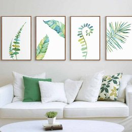 $enCountryForm.capitalKeyWord Australia - 1pc Watercolor Tropical Plant Leaves Minimalist Art Canvas Poster Painting Nature Wall Picture Modern Home Office Room Deco