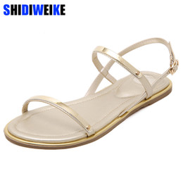 $enCountryForm.capitalKeyWord Australia - New 2019 Women sandals sexy thin belt flat sandals for women summer gold sandals with buckle strap sandalias mujer size 33 -