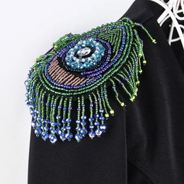 Eyes Patches Australia - 2pieces Handmade Beaded Eye Tassel Patches Peacock Tail Embroidery Applique Shoulder Badge Dance Wear Dress Decorated Sewing