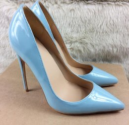 $enCountryForm.capitalKeyWord NZ - Summer New Classic Women Shoes Pumps Light Blue Patent Leather 12cm Pointed Toes High-heeled Shoes Sexy Thin-heeled Women's Dress Shoes