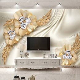 Özel 3D Duvar Kağıdı Altın Elmas Çiçek Takı Büyük Duvar Boyama Avrupa Tarzı Oturma Odası TV Masaüstü Ipek Duvar Kağıdı indirimde