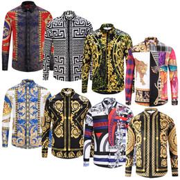 Purple Mens Black Floral Shirt Canada - Fashion Designer Slim Fit Shirts Men 3D Black Gold Floral Print Mens Dress Shirts Long Sleeved Business Casual Shirts Males Clothes