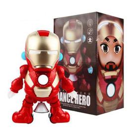 $enCountryForm.capitalKeyWord NZ - Dance Hero Iron Man Robot Dancing Iron Man Action Figures LED Flashlight with Sound Rotate Avengers Superhero Doll Toys Kids Gift