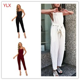 4d978b34ca3c Europe and the United States cross-border Amazon wish summer new cotton and  linen women s sexy jumpsuit suspenders women s casual pants