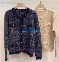 Wholesale beige bomber jacket women for sale – winter high end women girls knit sweater bomber jacket bling striped cardigan single breasted crew neck long sleeve knitwear fashion design tops