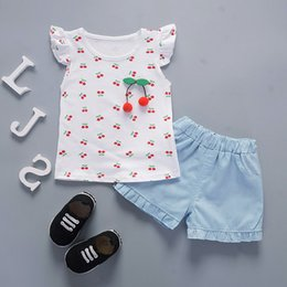 Cotton Cherry Australia - good qulaity summer baby girls clothes set new fashion cute cherry pattern t-shirt+shorts 2pcs newborn kids girl cotton clothing