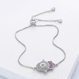 20613da30ca OCESRIO Cubic Zirconia Lucky Hand of Fatima Hamsa Evil Eye Bracelet  Adjustable Charm Bracelet for Women Fashion Jewelry brt-a08