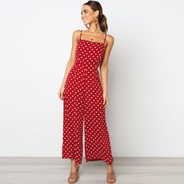 c433beaa97a9 Elegant Polka Dot Rompers Womens Jumpsuit 2019 Boho Summer Spaghetti Strap  Sleeveless Streetwear High Waist Wide Leg Jumpsuit