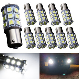 warm white ba15s led bulbs UK - 10pcs 1156 P21W BA15S LED 5050 SMD 27 LED Bulbs White Warm White Lamp Auto Car Backup Reserse Turn Signal Side Marker Lights 12V LED Lamps