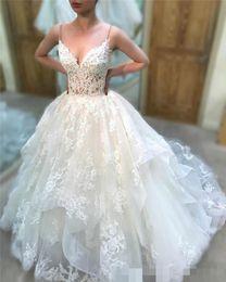 Bride Dresses Skirts Australia - Chic Tiered Skirt A Line Wedding Dresses Lace Applique Spaghetti Straps 2019 Sexy Deep V Neck Wedding Bride Gown Vestido de novia