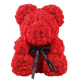 valentines day gift rose Australia - 38*30cm Cute Rose Bear Toy Women Girls Wedding Decoration Teddy Bear Doll Anniversary Valentines Day Gift Large drop shipping T191026
