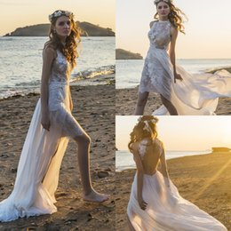 white short front long wedding dresses Australia - chic nostalgia haven Bohemian beach wedding dresses front short lace back long chiffon Wedding Dress Sexy Open Back Country Sheath Bridal