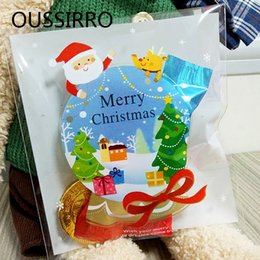 Christmas Foods Gifts Australia - 25Pcs 10*11cm Cute Cartoon Gifts Bags Christmas Cookie Packaging Self-adhesive Plastic Bags For Biscuits Candy Food Cake Package C18112701