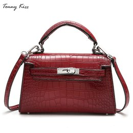 good quality leather crossbody bags Canada - Tonny Kizz women handbag split leather tote bag female crossbody bags ladies alligator prints top-handle bag good quality totes