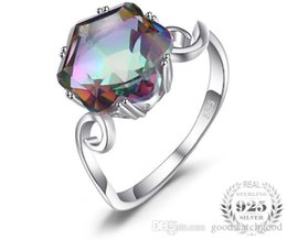 mystic topaz wedding ring sets UK - 925 Sterling Silver 3.2ct Genuine Rainbow Fire Mystic Topaz Ring SolidJewelry Best Gift For Women Fine Jewelry