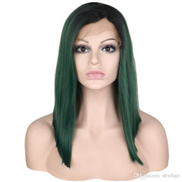 $enCountryForm.capitalKeyWord UK - Ombre Synthetic Lace Front Wig Green Dark Root Glueless Short Bob Straight Black Ombre Green Synthetic Heat Resistant Wigs Baby Hair